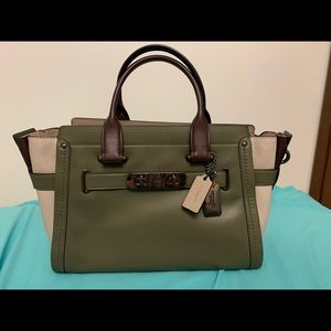 Coach Swagger in Color block smooth Leather
